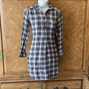 Madewell black white checkered shirt mini dress
